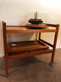 Mid Century Modern Teak Wood Tea Cart, Bed Tray and Lazy Susan, Vintage Nut Bowl w/Cracker & Picks
