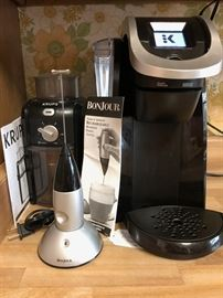 Krups Coffee  Grinder, BonJour Milk Frother, Keurig