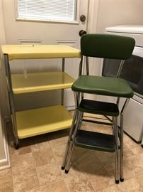 Vintage Kitchen Utility Cart, Vintage Kitchen Step Stool/Chair