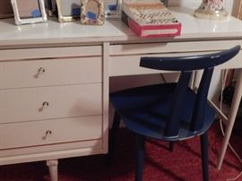 mid century desk/drawers , mid century chair