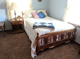 Full bed and nighstand (footboard is split in one area, priced accordingly)