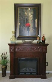 """""""Calvert"""" Carved Electric Fireplace"""