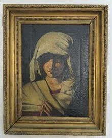 Cira 1800's Young Girl Praying  Portrait Canvas Painting, Artist Signed