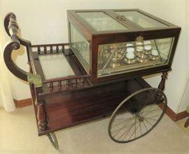 Antique Mahogany Glass Encased Austrian Bar Cart