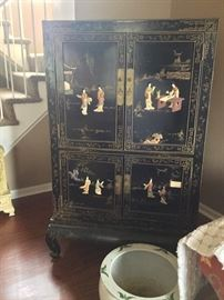 "Drexel Heritage ""Etc Cetera"" black lacquer chinoiserie cabinet"