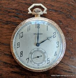 14K yellow gold Waltham Open Face Pocket Watch