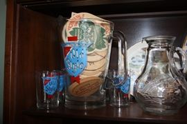 Old Style pitcher and beer glasses