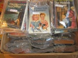 Over 50 juvenile books including Nancy Drew, Hardy Boys, Bobbsey Twins - all in original dust jackets.