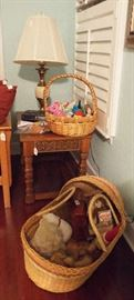 Side table & baskets of stuffed toys