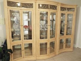 Three-section display cabinet