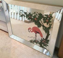 Mid century flamingo mirror Large