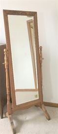 Swivel oak mirror