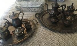 2 sets of silver plate towle Coffee /Tea pot/C/S and tray.