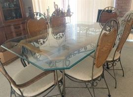 Very nice glass top sun room table and chairs