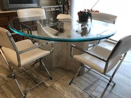 Mid Century Modern Kitchen table with 4 chairs Beveled glass top with stone/concrete base Chrome and leather chairs