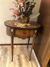 Louis XV Side table with Wedgewood Circles in Brass