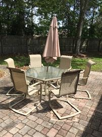 Patio Table with 6 Chairs & Umbrella