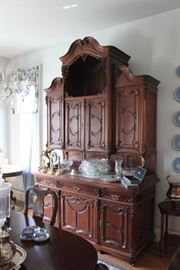Antique Buffet/Hutch with Marble Top and Cherub Locking Hardware
