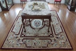 "Aubusson Wool Rug, Antique Table, Lenox ""Buchanan"" Set"