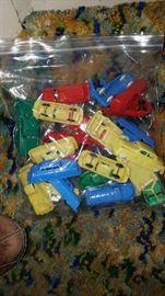 Bag of vintage plastic cars & trucks