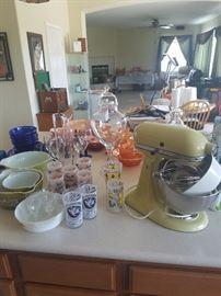 Kitchen aid mixer...vintage Pyrex SOLD