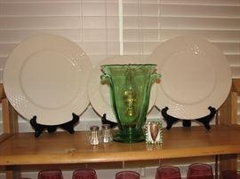 Green depression vase