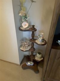 5 Tiered Standing Decorative Table with lovely Collectibles.