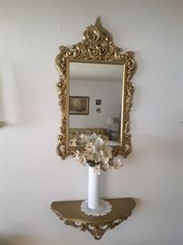 Decorative Plastic Mirror and Decorative Plastic Ledge. Rosenthal Germany Vase.