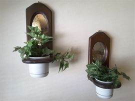 Wall Mirror Wood Plant Mounts, Plants are fake.