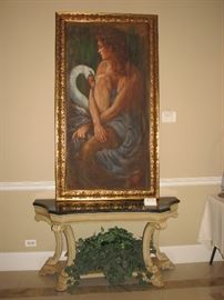 Thomas Rut oil on canvas (large), black marble topped hall table