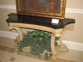 black marble topped hall table