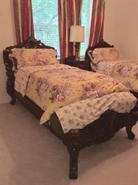 Gorgeous Extra Long Twin Beds. Carved Wood, Shipped from Indonesia
