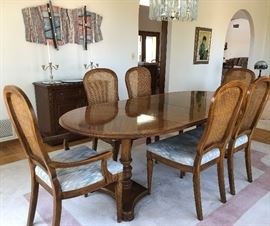 Gorgeous Drexel Dining Table w 2 Leaves and 6 Cane Backed Chairs, Drexel Bar/Buffet