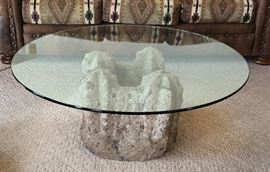 Rock Base, Glass Top Coffee Table