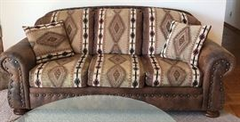 Nailhead Leather and Fabric Rolled Arm Sofa