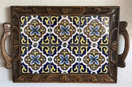 Tile Tray w Carved Wood Frame and Handles