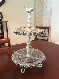 Carnival Glass Tiered Dessert Tray