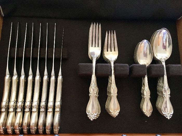 "Towle ""Queen Elizabeth I"", (12) 5-piece settings plus 9 Serving pieces. (partial shown)."