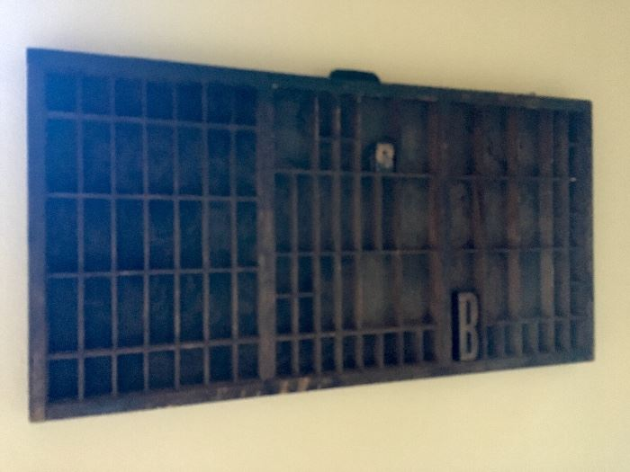 Antique printer's typeset tray