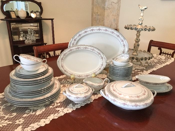 "Noritake ""Glenwood"" Service for 12, plus several serving pieces. Partial shown."