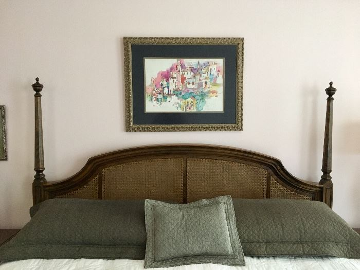 Ethan Allen Cane King Bed with Stearns & Foster Mattress