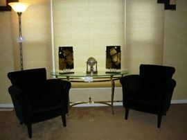 Designer black velvet chairs, glass & brass hall table