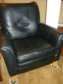 One of a pair of genuine leather LaZBoy recliners