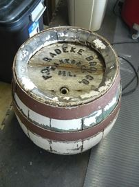 Antique oak Radeke Beer Barrel, Kankakee, Il.