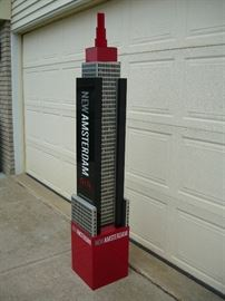 5 1/2' tall metal New Amsterdam gin advertising skyscraper.  Cool right?