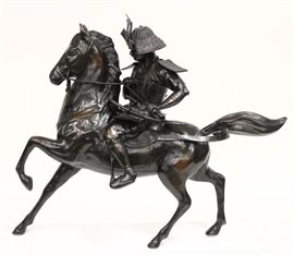 Japanese Bronze Samurai Warrior on Horse, Samurai in full Armor, heavily patinated