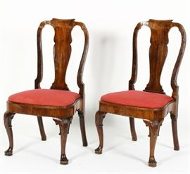 Pair of George II Walnut Side Chairs,c.1730, solid splat and scrolled crest