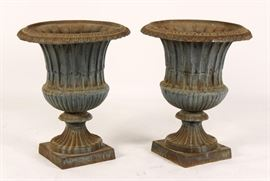 Pair of Cast Iron Urns, c.1900 Garden Outdoor Antique