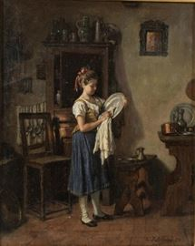"Oil Painting Emille Robellas Swiss ""Washing the Pewter"" O/C 19th c. Signed and dated 1875"