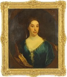 Antique Oil Painting, Portrait of a Lady in Blue, Gilt Frame, 19th Century